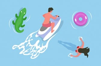Inflatable jet ski and woman in water