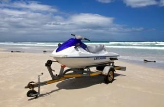 jet ski on trailer on the beach