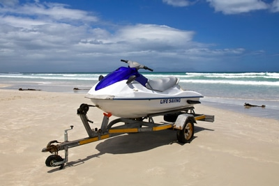 jet ski on trailer on the beach
