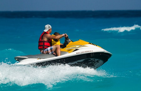 jet ski ride at sea